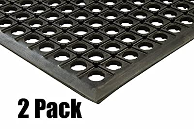 "Quantity (2) 3x5 Black Drainage Rubber Floor Mat Heavy Duty Anti Fatigue Anti-slip 36"" x 60"" x 1/2"" Thick by ETD"
