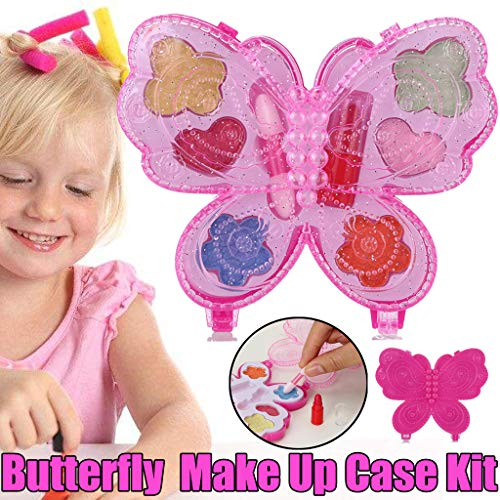 Transer- Pretend Makeup for Toddlers Girls, Portable Deluxe Butterfly Princess Girl's Make Up Palette Kit and Cosmetic Set Play Toys Set -
