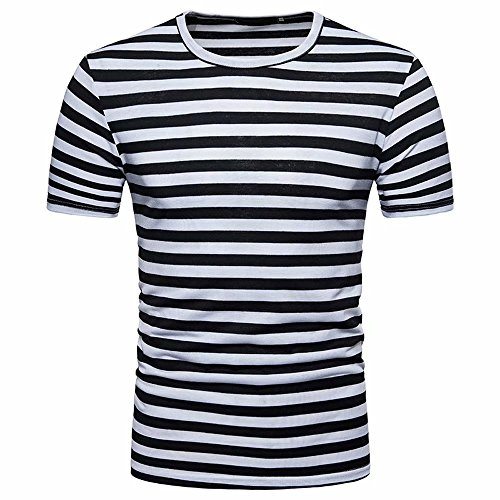 7d23f17536 Reasoncool Men s Summer Casual Stripe Round Neck Short Sleeve Pullover Tee T -Shirt Top Blouse (M