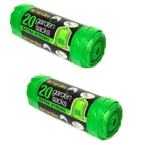 2 x Tidyz - Bolsas de basura de jardín verde Heavy Duty 50 ...