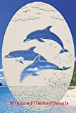 """Dolphins Jumping Oval Etched Window Decal Vinyl Glass Cling - 21"""" x 33"""" - White with Clear Design Elements"""