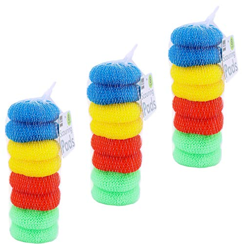 Pack of 24 Assorted Colors Round Nylon Dish Scouring Pads, Mesh Scourers