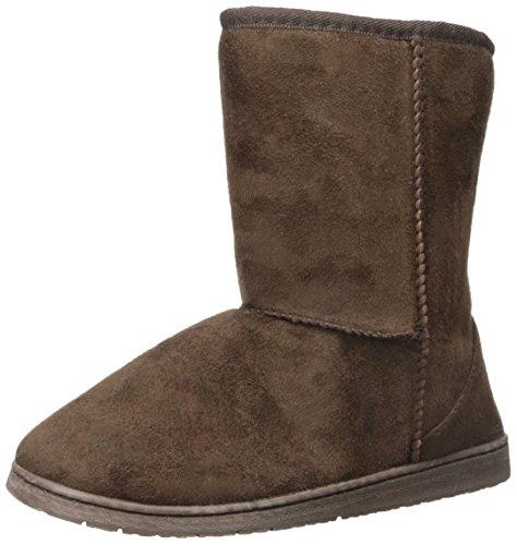 DAWGS Womens 9 Inch Faux Shearling Microfiber Vegan Boots (Chocolate, Size  7)