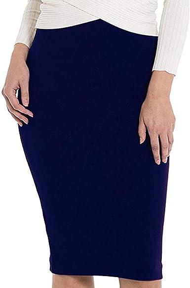 R-GABI - Falda elástica básica para Mujer - Azul - Small: Amazon ...