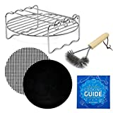 Air Fryer Grill Rack Accessories Compatible with NuWave Brio 3QT, Phillips Airfryer HD9220 HD9621 HD9230 HD9531 HD9238 HD9641,Cozyna, Chefman +More Square Deep Fryers w Cookbook by Infraovens | S - M
