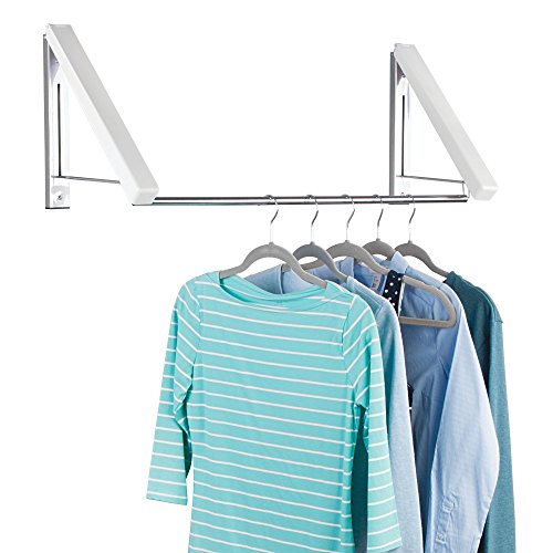 Wall Mounted Metal and Plastic Clothes Hanger Holder Storage Organizer System for Laundry Room, Bathroom or Bedroom - White