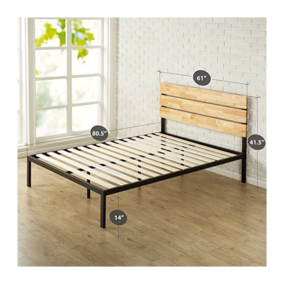 Zinus Paul Metal and Wood Platform Bed with Wood Slat Support, Queen - Rustic styling with casual charm Pine wood headboard, with strong steel frame and seven leg support for durability Headboard, frame and wood slats included/mattress sold separately - bedroom-furniture, bedroom, bed-frames - 51xKiRyGHqL. SS570  -