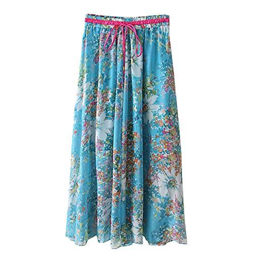 imprim Bleu Bohme en Tulle Longue Casual Jupe Mousseline Plage lastique Floral de Clair Soie Femme ZwBxXBqOF