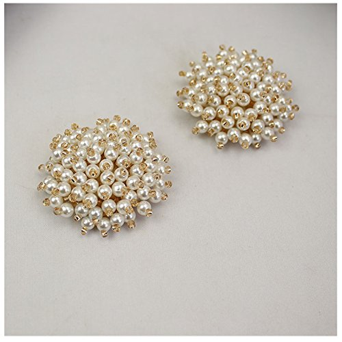 Douqu Ivory Pearl Gold Tone Rhinestone Crystal Wedding Bridal Shoe Clips Pair
