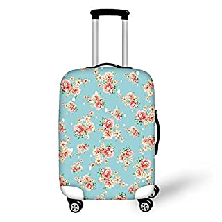 Bigcardesigns Blue Flower Luggage Cover for Women Travel Trendy Suitcase Dust-proof Protective Case Large Size for 26-30 inch Luggage