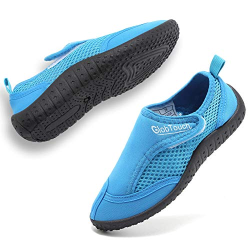 GLOBTOUCH Boys Girls Water Shoes Toddler Breathable Running Sneakers Sandals Pool Beach Athletic Slip on Aqua Sock-THSX-1.blue-23