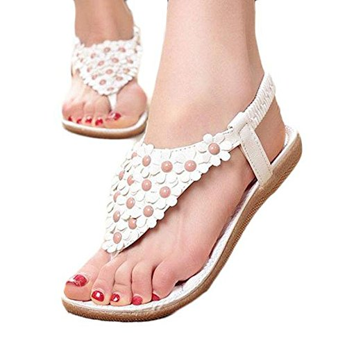 WINWINTOM Women Sandals, | Sweet Beaded Clip Toe Sandals | Beach Shoes Bohemia High Heels Ankle Shoes Flat Wedges Shoes Footwear Flip Flop Sandal | No Rubbing | Toes Comfortable to Wear White