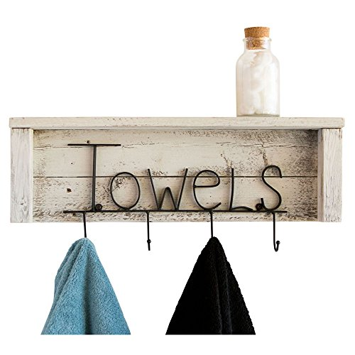 Drakestone Designs Wood Bathroom Towel Rack Hooks 24 Inch | Wall Mount | Handmade Rustic Reclaimed Wood - Whitewash by Drakestone Designs