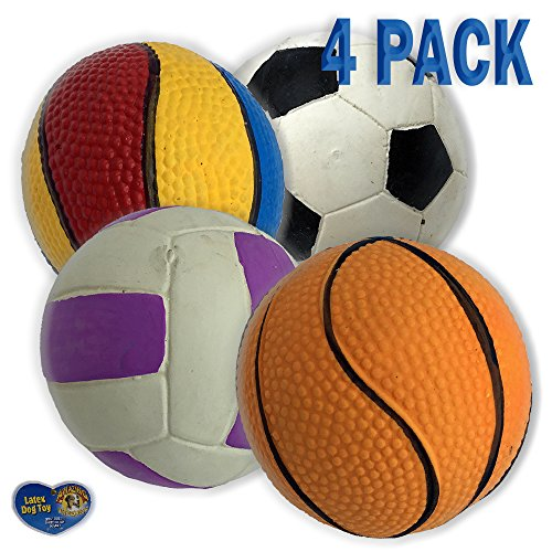 Amazing Pet 4 Pack of Latex Sport Ball Squeak Toys for Dogs and Cats 1 2.5 Inch Soccer Ball 1 3 Inch Volley Ball 1 3 Inch Basketball and 1 2.5 Inch Rainbow Basketball (Basketball Rainbow Latex)