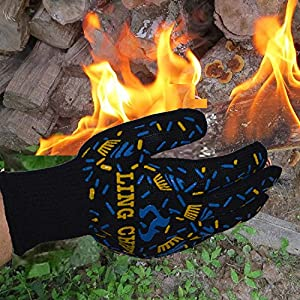 OGRUI BBQ Cooking Glove 932°F Extreme Heat Resistant Oven Gloves