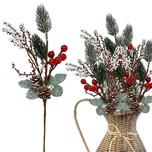 Pine Pick Decorations 10 Pcs- White Pip and Red Holly Berries Pine Cones Christmas Floral Sprays Bendable Stems - Great for Seasonal Wreaths Centerpieces Crafts DIY Party Décor