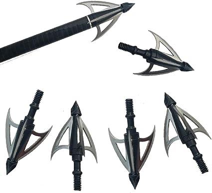 6pcs 4/'/' Cut Archery Arrowheads 4 Blade Broadheads Crossbow Hunting Points Tips