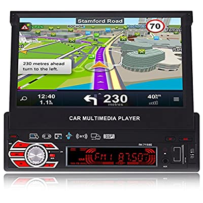 FiveFour 7-inch Singl DIN In-Dash GPS Navigation For Car with Rear View Camera Support USB/SD/MP3/MP5/FM/AM Bluetooth,Wireless Remote,Flip Out Touch Screen Car Stereo