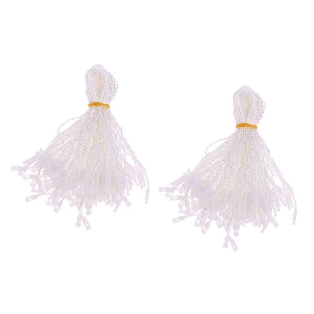 #2 Baoblaze 200 Pezzi Etichette Filo Appendere per Abbigliamenti Elementi Fissaggio Gancio Tie String Bianco