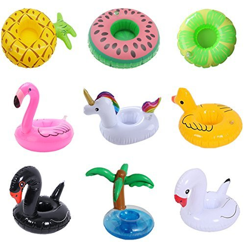 9 Pack Inflatable Drink Holder Unicorn Float,Fruit Flamingo Swan Plam Duck Inflatable Pool Cup Holders Coasters for Pool Party Water Fun