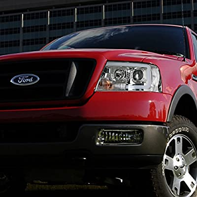 Replacement for Ford F150 / Lincoln Mark LT Chrome Housing Clear Corner 3D LED DRL Projector Headlight Lamp: Automotive