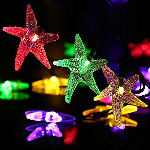 TechCode String Lights Oudoor, Starfish Shape Cute Solar String Lights Outdoor LED Fairy Lighting Waterproof Lamp with Solar Panel for Garden Backyard Party Christmas Holiday ()
