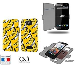 Caso de YEZZ Andy 5E Lte 4G Bananas Collection Patternde almacenamiento innovadoras con tarjeta de la puerta interna - Estuche protector de YEZZ Andy 5E Lte 4G con fijación adhesiva reposicionable 3M