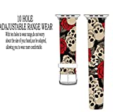 Apple-Watch-Band-38mm-Replacement-Band-Genuine-Leather-Iwatch-Strap-With-Silver-Metal-Clasp-For-iWatch-38mm-Red-Rose-With-Beautiful-Skulls