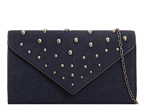 Ladies Suede Party Handbag Studded Envelope Purse KT2077 Navy Evening Bag Women's Faux Clutch rfrqw61x