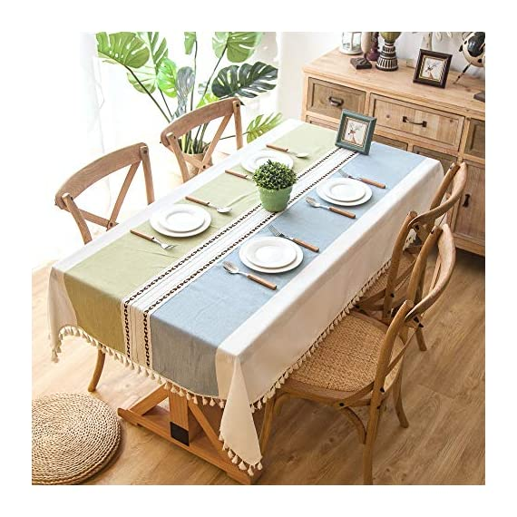 """Enova Home Elegant Rectangular Thicken Cotton and Linen Tablecloth with Tassels Dust Proof Table Cover for Kitchen Dinning Tabletop Decoration (Turquoise and Light Blue, 54""""x 78"""") - Composition: 90% Cotton 10% Linen Handmade/Hand-dyed by local skilled artisan in the middle of China Size:Approximately 54"""" x 78"""" Rectangle (140cm x 200cm) - tablecloths, kitchen-dining-room-table-linens, kitchen-dining-room - 51xKm9jPBpL. SS570  -"""