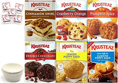 Krusteaz Muffin Mix Variety Pack #2 + Baking Liner + Sanitizing Hand Wipes. Cranberry Orange; Pumpkin; Lemon Poppy Seed; Double Chocolate; Cinnamon Swirl; Almond Poppy Seed. Holiday Baking Bundle of ()