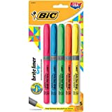 BIC Brite Liner Grip Highlighter, Assorted, Chisel Tip, 5-pack