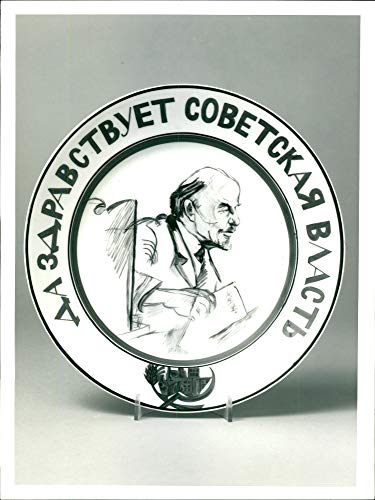 - Vintage photo of A soviet porcelain propaganda plate.