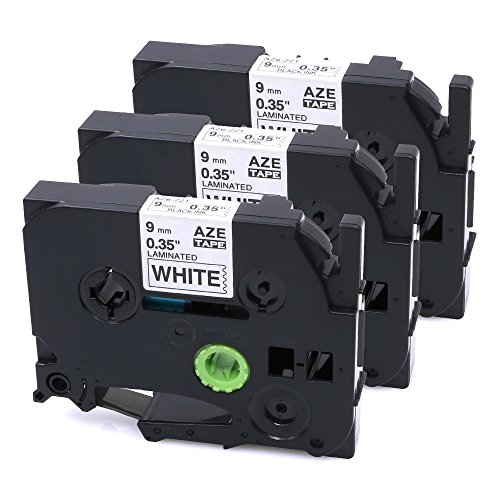 3 Pcak TZe-221 TZ-221 Compatible for Brother Model Black on White P-Touch Label Tape, Laminated 0.35