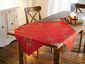 Tischdecke Goldstern Rot Stern Weihnachten Tischdeko Gold