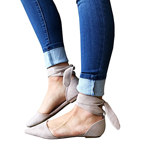 2fe30a4900f lovely Chellysun Women s Cut Out Elastic Strap Lace Up Ankle Ballet Flat  Beige Suede Tie Flat