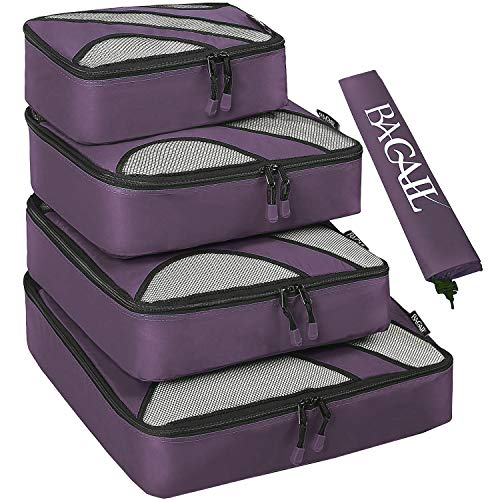 4 Set Packing Cubes,Travel Luggage Packing Organizers with Laundry Bag(Dark Grey) (A Laundry 1)