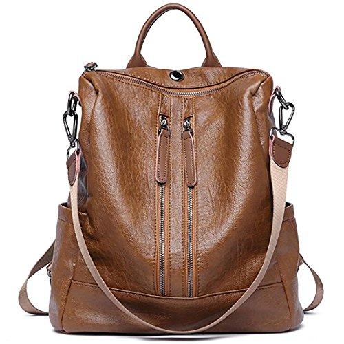 ZUNIYAMAMA Casual Purse Fashion School Leather Backpack Crossbady Shoulder Bag Mini Backpack for Women & Teenage Girls brown by ZUNIYAMAMA