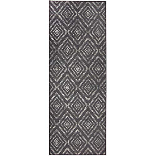 RUGGABLE Washable Stain Resistant Indoor/Outdoor, Kids, Pets, and Dog Friendly Runner Rug 2.5'x7' Prism Dark Grey (Best Child Friendly Dogs)