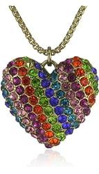 Betsey Johnson Women's '60s Mod Rainbow Heart Pendant Multi Pendant Necklace