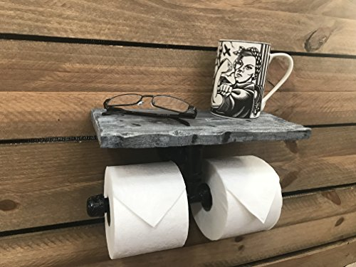 Piping Hot Art Works Toilet Paper Holder-Multi Roll Design-PERSONALIZED Floating Distressed Weathered Shelf. NEVER RUN OUT OF TP AGAIN ! (Wall Mounting Hardware Included!) (Weathered Blue/Gray) by Piping Hot Art Works (Image #3)