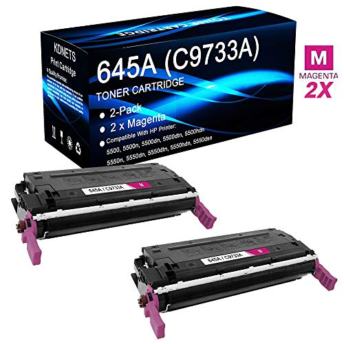 (2-Pack Compatible 645A C9733A (2 Magenta, 24,000 Pages) Print Cartridge Use for HP Color Laserjet 5550hdn Printer, by KDNETS)