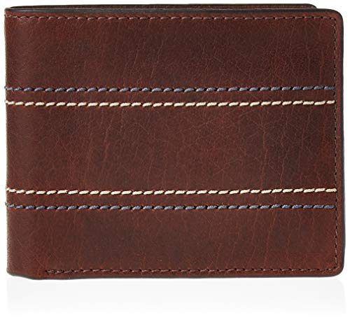 Fossil Men's RFID Blocking Bifold Flip ID Wallet, Reese Leather