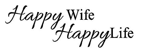 byyoursidedecal Happy Wife Happy Life Vinyl Wall Decal,Art ...
