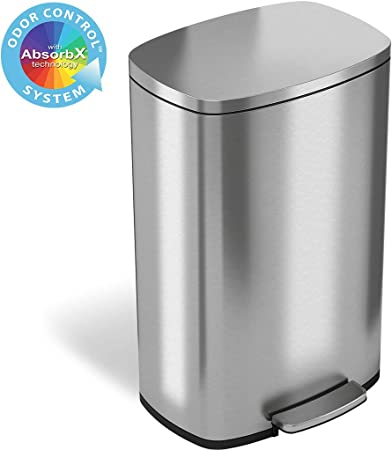 Stainless Steel Can Trash 13 Gallon Kitchen With Lid Step Free Touch Bin Garbage