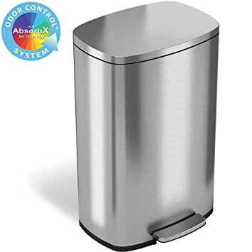 iTouchless SoftStep 13.2 Gallon Stainless Steel Step Trash Can with Odor  Control System, 50 Liter Pedal Garbage Bin for Kitchen, Office, Home -  Silent ...