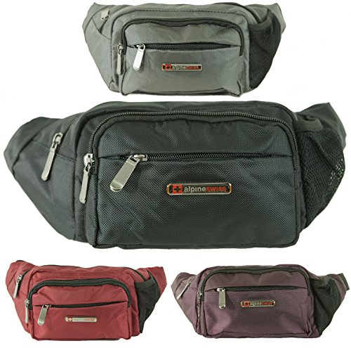 alpine swiss Mens Fanny Pack Travel Case Adjustable Belt Sport Pouch Waist Bag