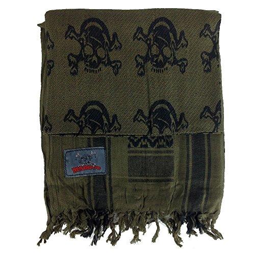 - Maddog Sports Shemagh Tactical Desert Scarf - Skull & Crossbones - Olive