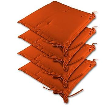 4 Coussins Pour Chaise Orange