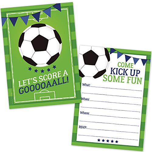 - Soccer Party Invitations for Kids (20 Count with Envelopes) - Soccer Party Supplies for Boys and Girls